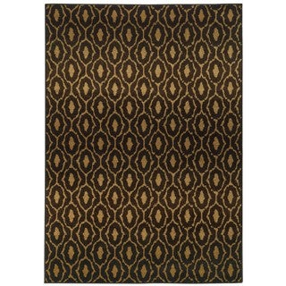 Tribal Lattice Black/ Brown Rug (6'7 x 9'6)