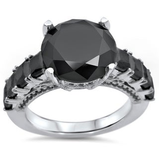 Noori 14k Gold 4 4/5ctw Black Round Diamond Engagement Ring