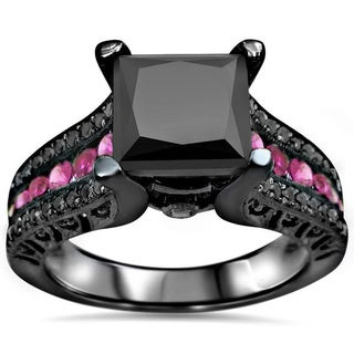 14k Black Rhodium Gold 3ct Black Diamond Pink Sapphire Engagement Ring