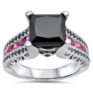 14k Gold 3ct Black Diamond Pink Sapphire Engagement Ring