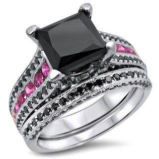 14k White Gold 3 4/5ct Black Princess-cut Diamond Pink Sapphire Bridal Ring Set