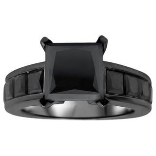 14k Black Rhodium-plated Gold 4 3/5ct TDW Certified Black Princess-cut Diamond Engagement Ring (VVS1-VVS2)