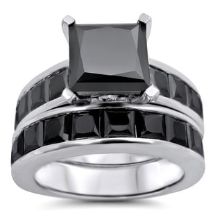 Noori 14k White Gold 7 1/2ct TDW Black Princess-cut Diamond Bridal Ring Set