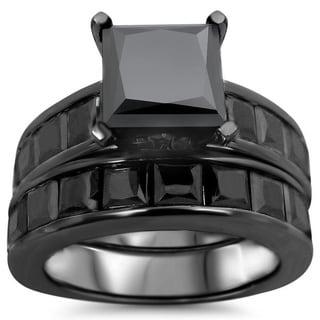 Noori 14k Black Rhodium-plated Gold 7 1/2ct TDW Certified Black Diamond Bridal Ring Set