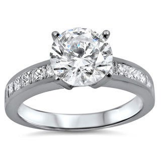 18k White Gold 1 2/5ct TDW Certified Diamond Engagement Ring (G-H, SI1-SI2)