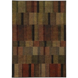 Geometric Brown/ Green Rug (9'10 x 12'10)