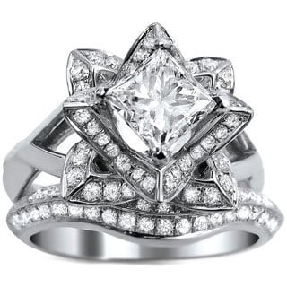 14k White Gold 2ct TDW Princess-cut Certified Diamond Lotus Flower Bridal Ring Set (G-H, SI1-SI2)