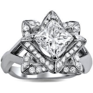 14k White Gold 1 1/2ct TDW Princess-cut Certified Diamond Lotus Flower Engagement Ring (G-H, SI1-SI2)