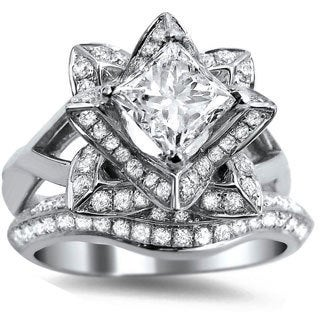14k White Gold 1 3/4ct TDW Certified Enhanced Diamond Lotus Flower Bridal Ring Set (G-H, SI1-SI2)