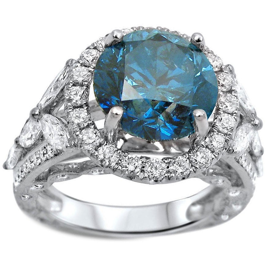 Overstock.com 18k White Gold 5ct TDW Round-cut Certified Blue Diamond Engagement Ring (I1-I2)