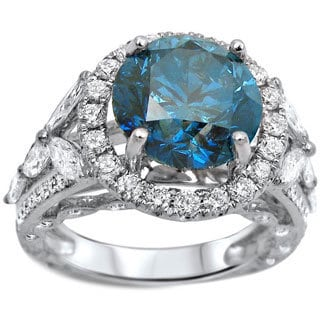 18k White Gold 5ct TDW Round-cut Certified Blue Diamond Engagement Ring (I1-I2)