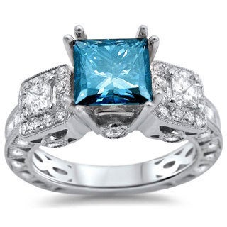 18k White Gold 3ct TDW Certified Blue Diamond 3-stone Ring (SI1-SI2)