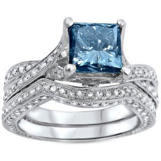 Noori 14k White Gold 2 2/5ct TDW Certified Blue Princess-cut Diamond Engagement Ring (SI1-SI2)