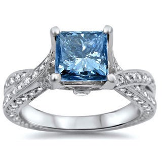 14k White Gold 1 7/8ct TDW Certified Blue Princess-cut Diamond Ring (SI1-SI2)