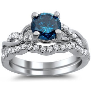 14k White Gold 1 1/5ct TDW Certified Round-cut Blue Diamond Bridal Ring Set (SI1-SI2)