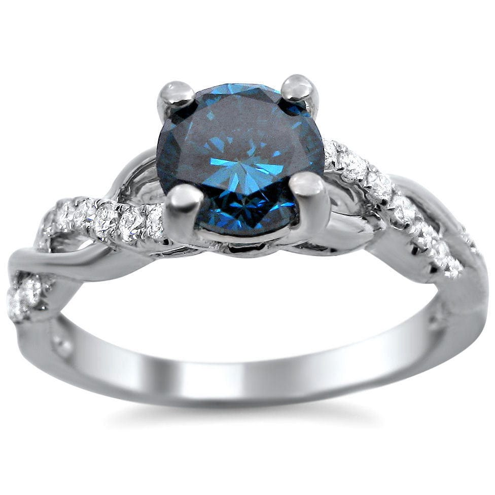 Overstock.com 14k White Gold 1ct TDW Certified Round-cut Blue Diamond Engagement Ring (SI1-SI2)