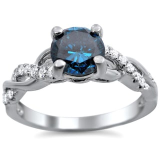 Noori 14k White Gold 1ct TDW Certified Round-cut Blue Diamond Engagement Ring (SI1-SI2)