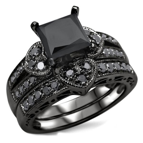 2 1 4ct black princess cut diamond heart bridal set 14k black rhodium gold c842c9ce 60db 4e96 a110 eeaa414fa952 600