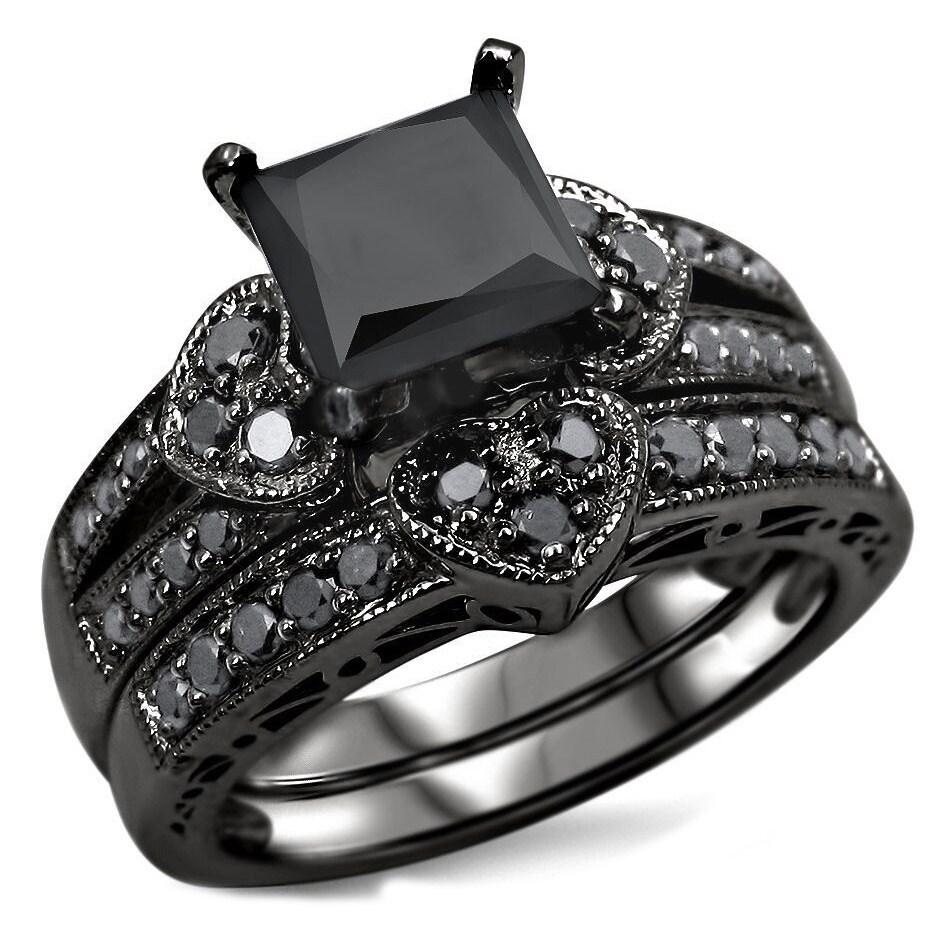 Overstock.com 14k Black Rhodium-plated Gold 2 1/4ct TDW Certified Black Diamond Heart Bridal Ring Set at Sears.com
