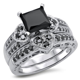 14k White Gold 2 1/4ct TDW Certified Black Princess-cut Diamond Heart Bridal Ring Set