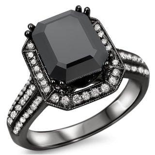 Noori 14k Black Rhodium-plated Gold 3ct TDW Emerald-cut Certified Black Diamond Engagement Ring