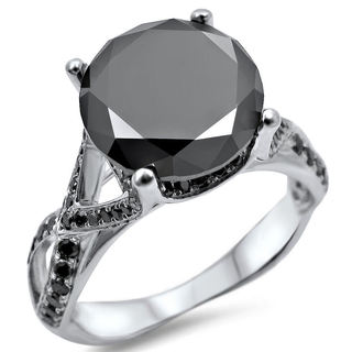 14k White Gold 3 3/4ct TDW Certified Round-cut Black Diamond Engagement Ring