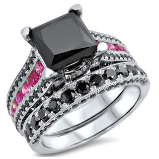14k White Gold 4 1/4ct TDW Certified Black Diamond and Pink Sapphire Bridal Ring Set