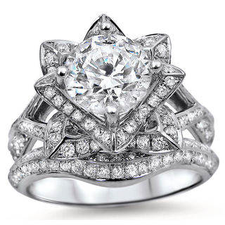 14k White Gold 2ct TDW Certified Round-cut Diamond Lotus Flower Bridal Ring Set (G-H, SI1-SI2)