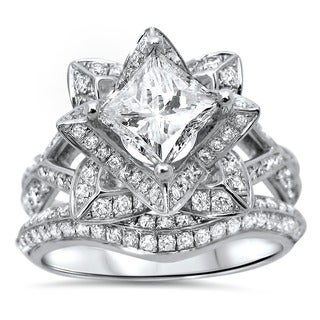 14k White Gold 2 1/2ct TDW Certified Diamond Lotus Flower Bridal Ring Set (G-H, SI1-SI2)