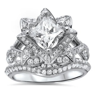 14k White Gold 2ct TDW Certified Clarity-enhanced Diamond Lotus Flower Bridal Ring Set (G-H, SI1-SI2)