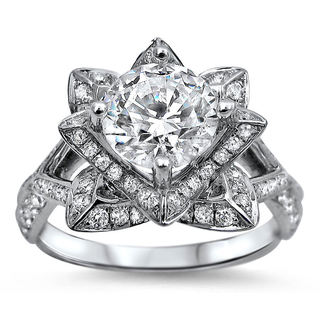 14k White Gold 1 1/2ct TDW Certified Round-cut Diamond Lotus Flower Engagement Ring (G-H, SI1-SI2)