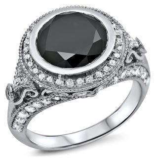 Noori 14k White Gold 2 7/8ct TDW Black and White Diamond Halo Ring (G-H, VVS1-VVS2)
