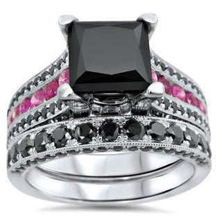 14k Black Rhodium-plated Gold 4 1/4ct TDW Certified Black Princess-cut Diamond and Pink Sapphire Bridal Ring Set