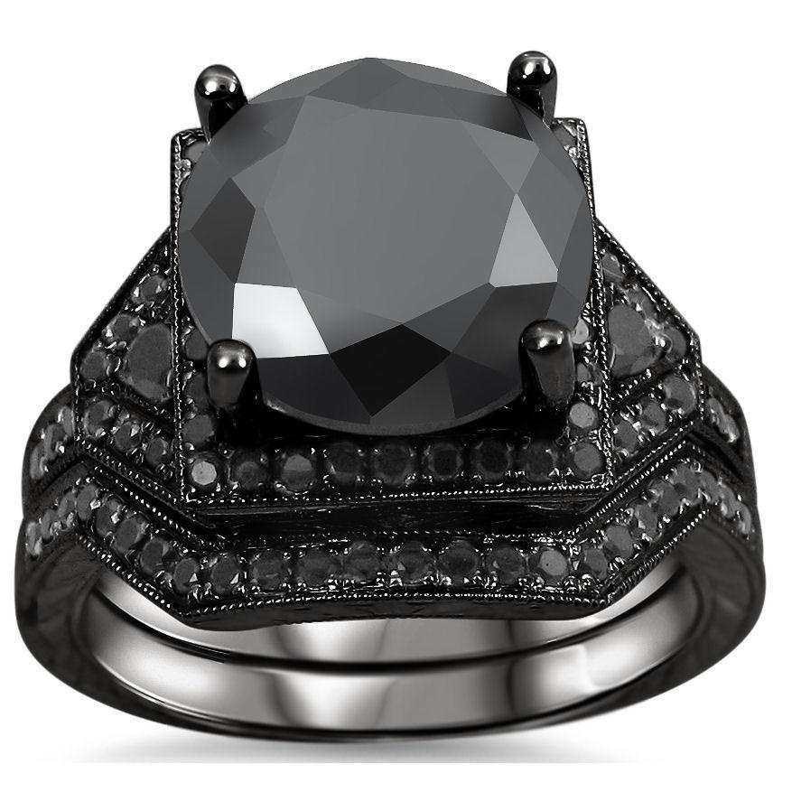 noori collection noori 14k black rhodium plated gold 5 14ct tdw certified black - Black Diamond Wedding Ring Sets