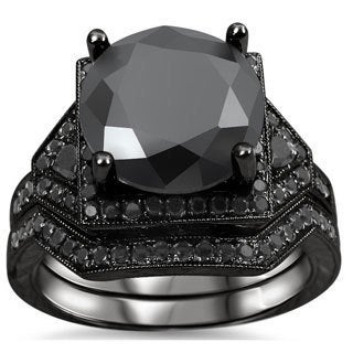14k Black Rhodium-plated Gold 5 1/4ct TDW Certified Black Diamond Bridal Ring Set