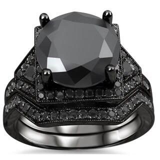 Noori 14k Black Rhodium-plated Gold 5 1/4ct TDW Certified Black Diamond Bridal Ring Set