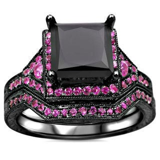 14k Black Rhodium-plated Gold 2 3/5ct TDW Black Certified Princess-cut Diamond and Pink Sapphire Bridal Ring Set