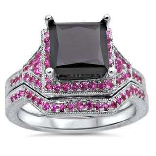 14k White Gold 2 3/5ct TDW Certified Black Princess-cut Diamond and Pink Sapphire Bridal Ring Set