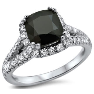 18k White Gold 2 1/6ct Black Cushion-cut Diamond Engagement Ring (G-H, VVS1-VVS2)