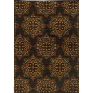 Floral Brown/ Blue Rug (7'10 x 10'10)