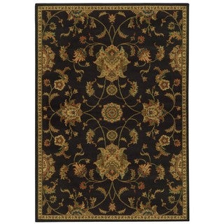 Floral Black and Green Rug (1'10 x 3'3)