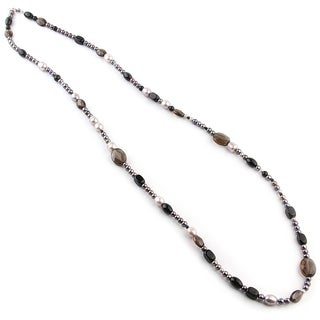 Pearl with Smoky Quartz 42-inch Necklace