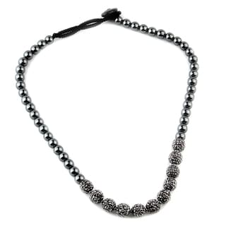 Grey Hematite and Crystal 20-inch Necklace