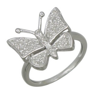 Sterling Silver 1/10ct TDW Diamond Butterfly Ring (G-H, I2-I3)
