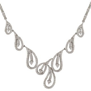 Sterling Silver Design Teardrop Wedding and Bridal Statement CZ Necklace