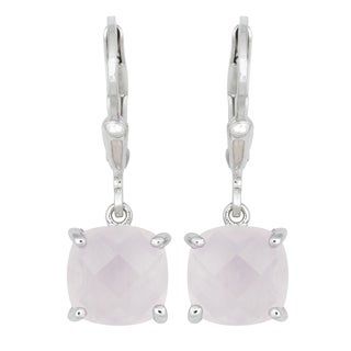 La Preciosa Sterling Silver Faceted Rose Quartz Cushion-cut Earrings