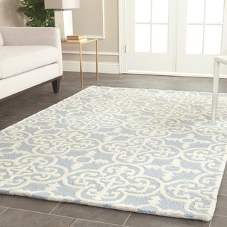 Safavieh Handmade Cambridge Light Blue/ Ivory Wool Rug (8' Square)