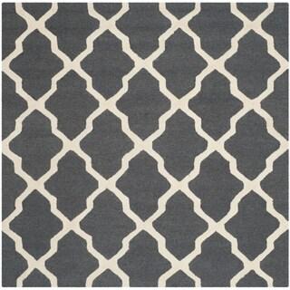 Safavieh Handmade Cambridge Dark Grey/ Ivory Wool Rug (8' Square)