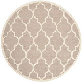 Safavieh Handmade Cambridge Beige/ Ivory Wool Rug (8' Round)