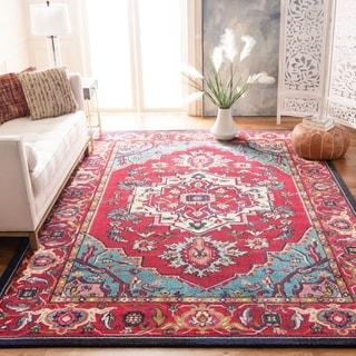 Safavieh Monaco Red/ Turquoise Rug (6'7 x 9'2)